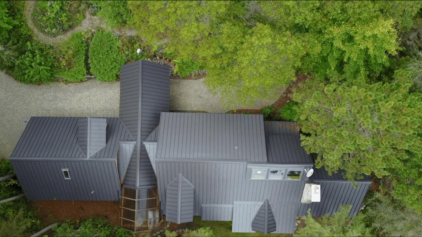 metal roof aerial shot